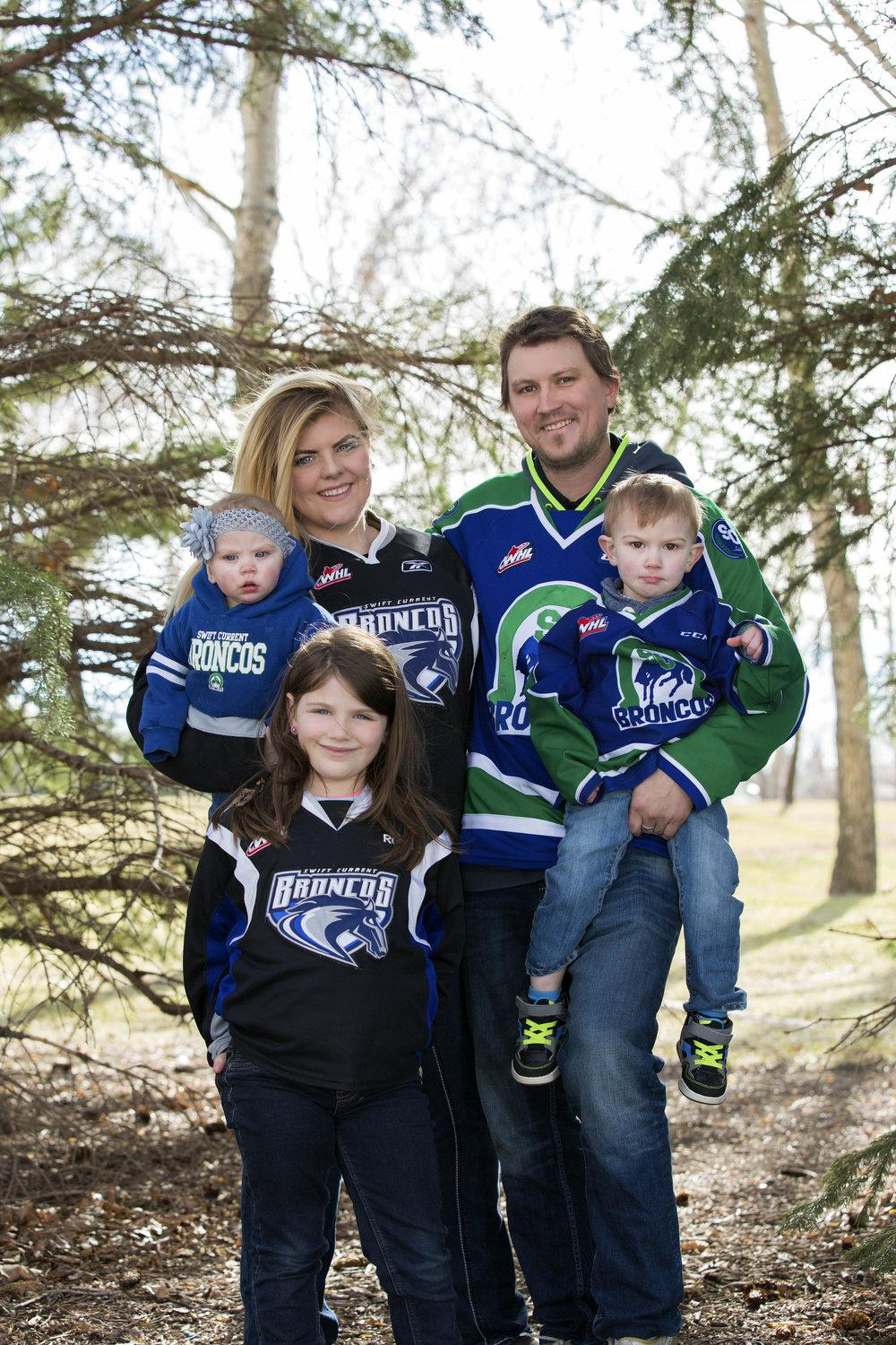 The Entire family are huge hockey fans.