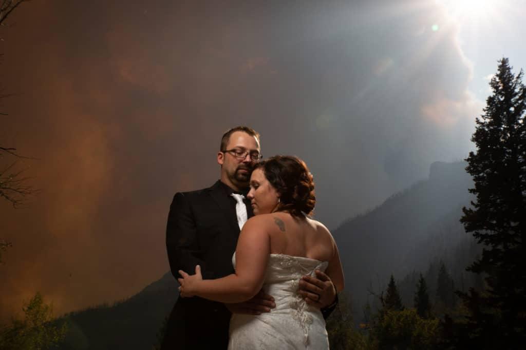 Waterton fire wedding couple