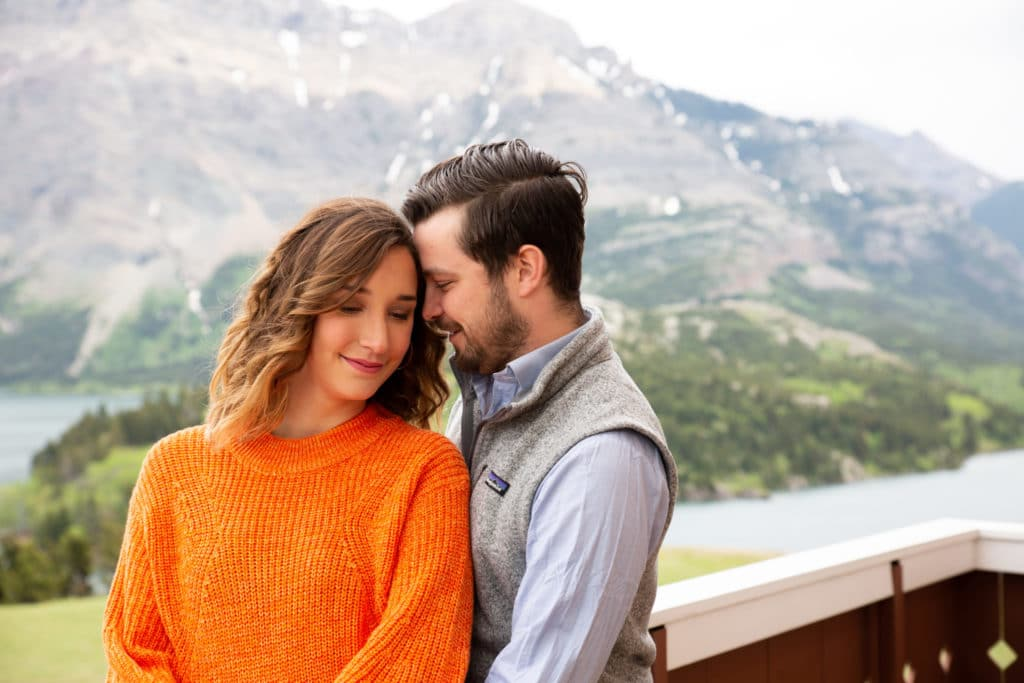 Waterton mountain background engagement session