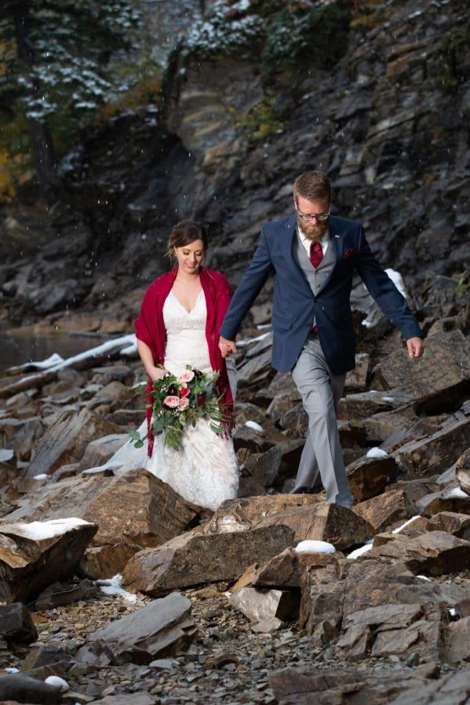 Waterton wedding with snowfall