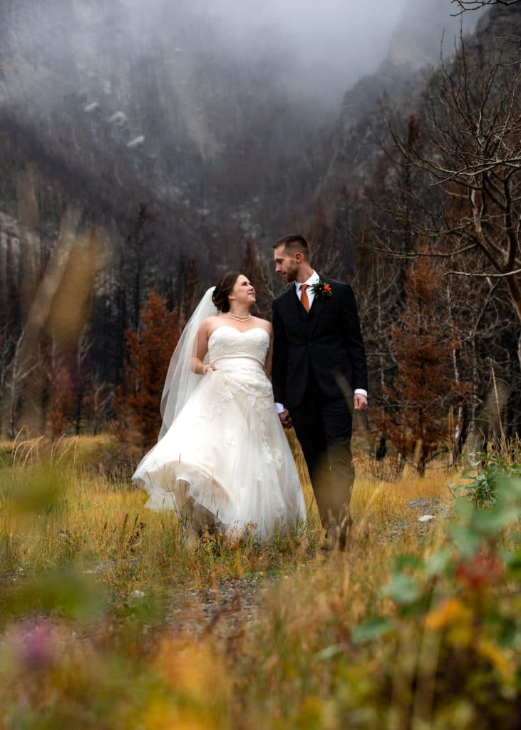 mountain wedding picture in waterton
